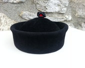1940s fur felt hat, cossack style Nan Cie label with silk bobble and almost chinese design russian hat ethnic hat chinese hat