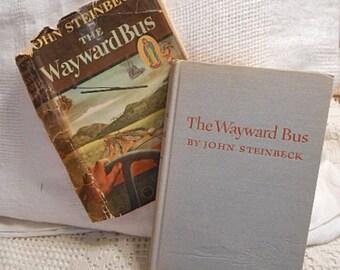 John STEINBECK'S WAYWARD Bus Book 1947 Calif Setting Classic Everyman Characters, Rebel Corners Mansfield Movie Hcdj Nobel Author 1st Ed 3rd