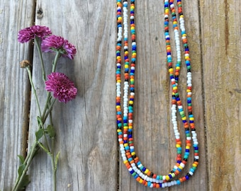 SALE Colorful Long beaded necklace | glass beads | hand strung | free gift wrapping