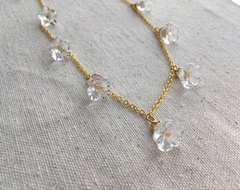 SALE Glass flower necklace on gold plated chain | FREE gift wrapping
