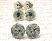 Blue Bird and Flower Button Earrings Set. Set of Cottage Chic Whimsical Post Stud Earrings. Sparrow Earrings.