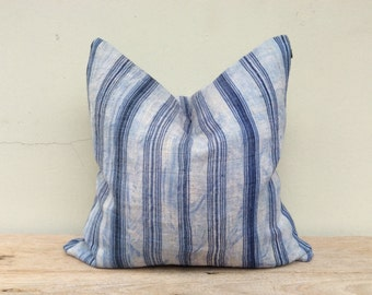 "Stripe Pillow Case Nature Hemp Hand Woven  A Piece Of Vintage Tribal Textile 20"" x 20"" Front And Reverse Same Fabric"