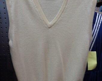 Vintage 1970's VNeck Cream CASHMERE Sweater Vest (available)