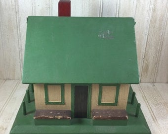 Vintage Wooden House Sewing Caddy