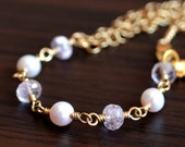 Real Morganite Bracelet, Blush Pink Gemstone and Freshwater Pearl, Cherry Blossom, Asymmetrical, Gold Chain Jewelry, Free Shipping