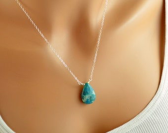 Gemstone Necklace, Chrysocolla, Large Turquoise Pendant, Sterling Silver, Simple Bold Womens Jewelry, Free Shipping