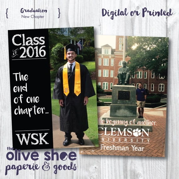 Graduation Announcement | New Chapter | High School | College Freshman | Custom | Digital Or Print | Front and Back | Grad