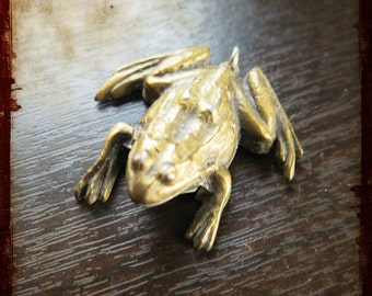 Antique French Miniature 3d Clicker frog Medal Pendant - Brass Vintage Jewelry charm animal or princess theme