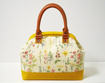 Christmas sale! 286 Doctors bag - real leather handles - Cottage Floral, medium weight cotton in yellow brown - handbag, small, woodland.