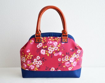 Doctors bag -299- real leather handles - raspberry red, cottage floral, medium weight cotton in dark blue - handbag, small, high fashion