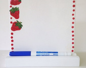 Strawberry Dry Erase Board - Ceramic Tile Memo Board- with Wooden Stand and Marker