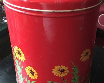 Red Vintage Metal Canister with Painted Yellow Flowers