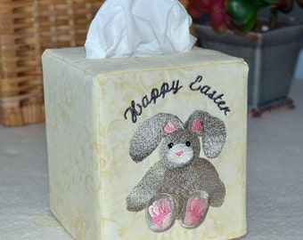 Happy Easter Stuffed Bunny Tissue Box Cover