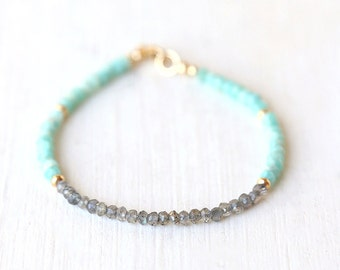 Labradorite Curve Bar Bracelet with Amazonite and Gold Balls  / Sterling Silver / 14K Gold Filled / Rose Gold /Stackable Gemstone Bracelet