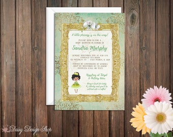 Baby Shower Invitation - Princess and the Frog - Tiana Damask and Frame