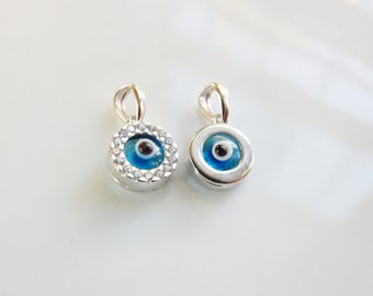 8mm Sterling silver round  evil eye charm with cz, round silver evil eye charm
