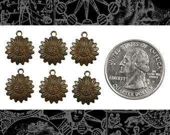 Rusty Black Plated Brass Multi-Petaled Daisy Charms - * Set of Six RB-C161