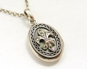 Vintage sterling silver marcasite fleur de lis locket and chain
