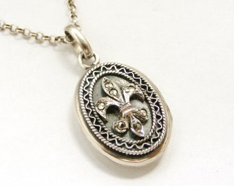 Vintage sterling silver marcasite fleur de lis locket and chain