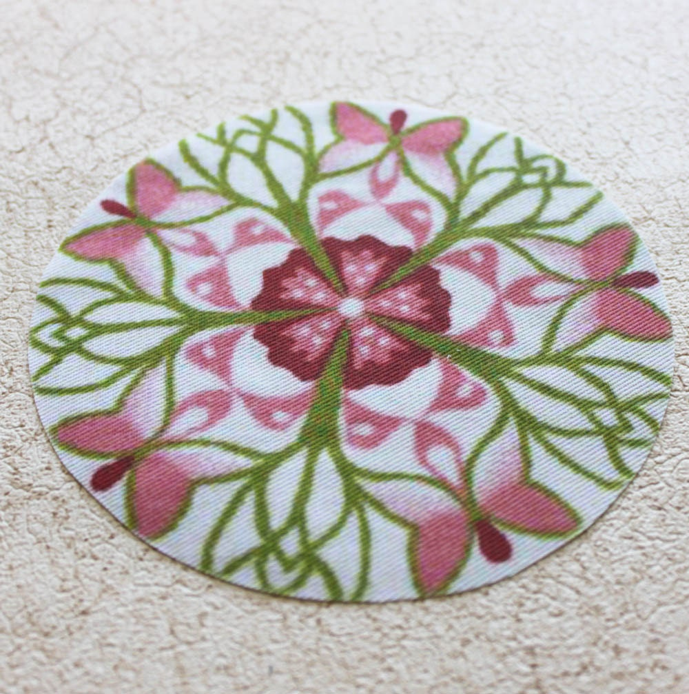 Dollhouse Miniature Round Pink Green Butterfly Rug