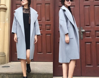 Free Style Wide Lapel  Cocoon Winter Coat/ Asymmetrical Double-Faced Cashmere and Wool Blend Long Jacket/Elegant /20 Colors / RAMIES