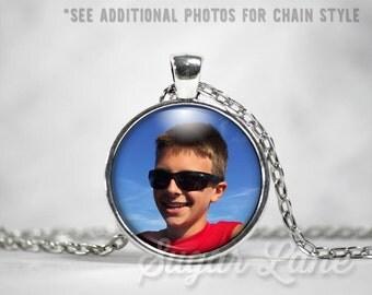 Custom Color Photo Necklace - Glass Dome Necklace - Custom Picture Pendant - Personalized Photo Pendant - Keepsake Jewelry