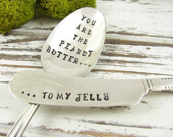 Peanut Butter and Jelly Gift. Stamped Spoon and Spreader Set. You Are the Peanut Butter to My Jelly. PB and J. Vintage Silverware. 061EDAY