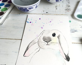 Lop Rabbit Original Watercolor Painting