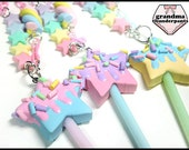 Pastel Star Pop Necklace, Fairy Kei, Decora, Sweets, Handmade Star Jewelry
