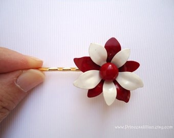 Vintage earrings hair bobbies - Simple white and red enamel flower painted two tone garden unique girl embellish decorative hair accessories