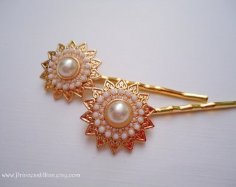 Prom Wedding Cabochon hair pins - Golden sun flower with white pearl and filigree hearts embellish decorative jeweled hair accessories