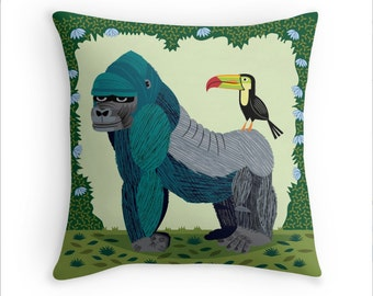 "The Gorilla and The Toucan - animal friends - Throw Pillow / Cushion Cover (16"" x 16"") iOTA iLLUSTRATION"