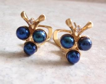 Peacock Pearl Earrings Vermeil Sterling Silver Omega Clips Vintage V0576