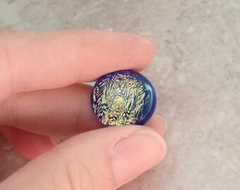 Dichroic Glass Cabachon Round 18mm Blue Gold Destash