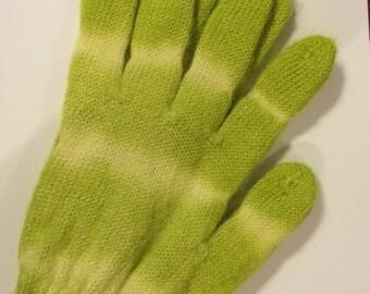 Alpaca Gloves - Green/Yellow Tie Dye