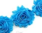 Turquoise Shabby Rose Trim 2-1/2 inches - 1/2 or 1 yard - Shabby Rose Trim - Shabby Chiffon Flower Hairbow Supplies, Etc.