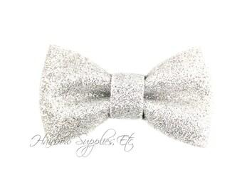 Silver Glitter Bow 3 inch - Glitter Hair Bow, Glitter Bows, Glitter Bow Headband, Glitter Bowtie, Glitter Hair Clip, Tuxedo Bow, Glitter Bow
