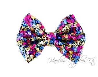 Rainbow Large Sequin Bows 4 inch Bows - Bow Applique, Sequin Bow, Large Bows, Big Bows, Wholesale Bows, Sequin Bow Tie, Sequin Bow Headband