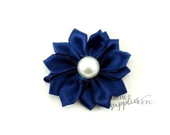 Navy Dainty Star Flowers with Pearl 1-1/2 inch - Navy Fabric Flowers, Navy Silk Flowers, Navy Hair Flowers, Navy Flowers for Hair