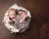 newborn boy romper with pocket (Maisen) - photography prop - onesie, tan, brown, mocha