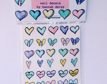 Hearts nail decals by Hannah Daisy