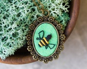 Bee necklace - Nature inspired hand embroidered jewelry n073