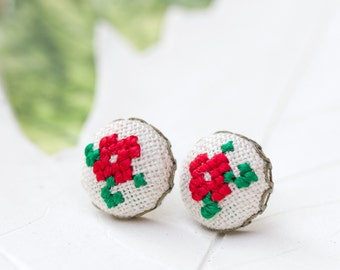 Tiny violet stud earrings - floral button studs in red e004red
