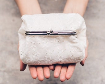Off White Wide Lace Purse | Ivory Clutch