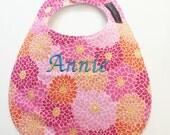 Monogrammed Baby Bib - Mums - Baby Girl Bib - Monogrammed Baby Gift - Personalized Bib - Personalized Baby - Pink Turquoise Coral Orange