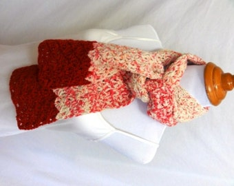 red and white scarf raised dyed and made in Montana