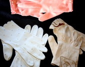 Three Pair Vintage Gloves Mocha, Strawberry and Milk-White Sizes 7, 7.5-8.5, and 6 1/2 Grandoe, Fownes and Wear Right Philippines Germany