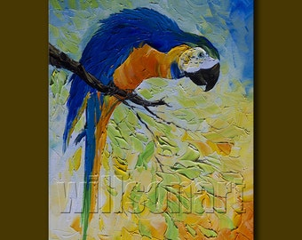 Parrot Modern Animal Oil Painting Textured Palette Knife Contemporary Original Art 12X16 by Willson Lau