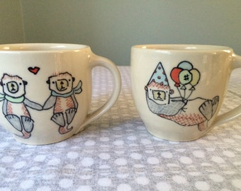 Two Otter Mugs - Custom Order for Katie Bromley