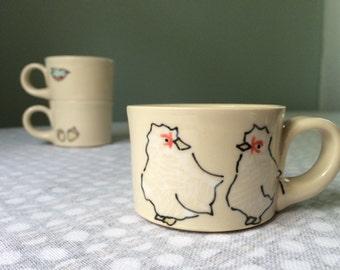 Chickens Espresso Cup - Handmade Tiny Mug